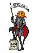 image of scythe  - Illustration Pumpkin Head Jack with the scythe - JPG