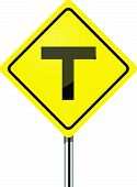 T junction road traffic sign