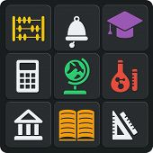 Set Of 9 School Web And Mobile Icons. Vector.