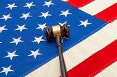 Wooden Judge Gavel Over Usa Flag - Studio Shoot