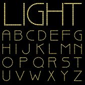vector alphabet with bulb lamps