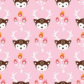 Seamless soft pastel pink baby reindeer and blossom illustration background pattern in vector
