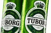 Cans Of Tuborg Beer Isolated On White