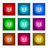 16 9 display colorful flat icons set