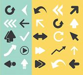 arrow, direction black flat icons, signs, symbols set, vector