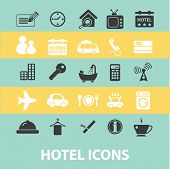 hotel, motel, black flat icons, signs, symbols set, vector