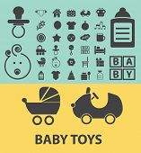 baby toys, children black flat icons, signs, symbols set, vector