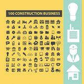 100 constuction business, factory, industry black flat icons, signs, symbols set, vector
