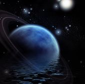 Ringed Planet and reflection in water