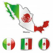 flag of Mexico in map and web buttons shapes