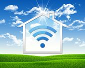 House icon with wi-fi symbol