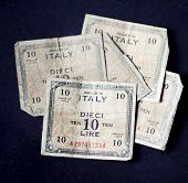 foto of mussolini  - 1943 issue rare banknote bearing the picture of Allied Military currency and design on back - JPG