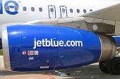 JetBlue Airbus A320 engine at Owen Roberts International Airport at Grand Cayman