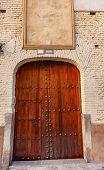 Old Wooden Door White Wall Walking Street Granada Spain