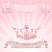 image of princess crown  - Shiny background with Princess crown on pink pillow - JPG