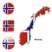 flag of Norway in map and web buttons shapes
