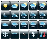 Set of Icons on a theme Weather. Illustration.