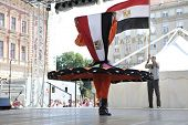 ZAGREB, CROATIA - JULY 17: Members of folk groups Egyptian National Folklore Troupe from Egypt durin