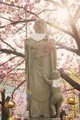 Japanese stone statue Ksitigarbha Bodhisattva in garden