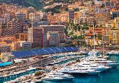 stock photo of grandstand  - Luxury yachts and formula 1 grandstand in the bay of Monaco - JPG