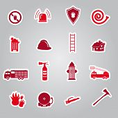 foto of fire brigade  - fire brigade 16 red stickers set eps10 - JPG