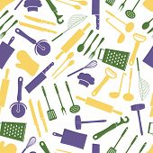 Home Kitchen Cooking Utensils Color Pattern