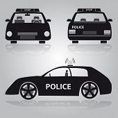Police Car From Front, Back And Side View