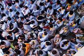 Impression, Overcrowded Of Buddhist At Pagoda On Anniversary