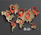 Vector Brown Paper World Map Graphics.