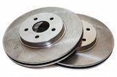 Two Brake Disks Isolated On White Background