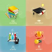 Education concepts, vector set