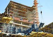 Construction site. High-rise building under construction.