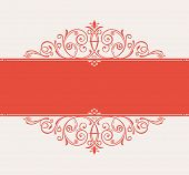 vector template for text. vintage frame decorated with antique ornaments red