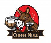 foto of mule  - Vector illustration of a mule carrying a tray of coffee - JPG