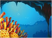 Illustration of a beautiful view of the coral rees under the sea on a white background