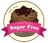 Illustration of a fresh cupcake with a sugar free label on a white background