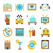 Hotel services flat icons set
