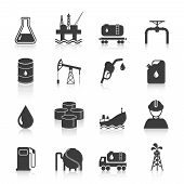 foto of tank truck  - Oil industry gasoline processing symbols icons set with tanker truck petroleum can and pump isolated vector illustration - JPG
