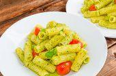 Rigatoni Pasta With Genoese Pesto And Sherry Tomato