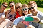 friendship, leisure, summer, technology and people concept - group of laughing friends with smartphone making selfie in park