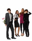 stock photo of sad man  - The young man with a bouquet and group of girls on a white background - JPG