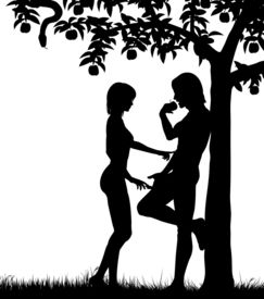 picture of adam eve  - Illustrated silhouettes of Adam and Eve and an apple tree - JPG