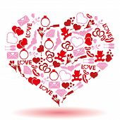 Valentine's Day And Love Icons In A Hearth Shape Eps10
