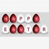 Happy Easter From Red And White Eggs Eps10