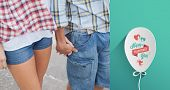 Couple in check shirts and denim holding hands against valentines day greeting