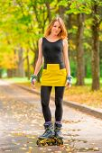 Portrait Of A Girl In A Yellow Skirt Roller Skate