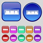 Ruler Sign Icon. School Tool Symbol. Set Of Colored Buttons. Vector