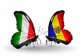 Two Butterflies With Flags On Wings As Symbol Of Relations Italy And Moldova