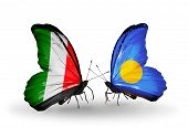 Two Butterflies With Flags On Wings As Symbol Of Relations Italy And Palau