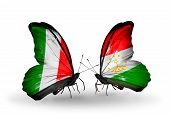 Two Butterflies With Flags On Wings As Symbol Of Relations Italy And Tajikistan